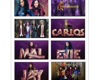 8 Disney Descendants Stickers, Birthday Party Favors, Labels