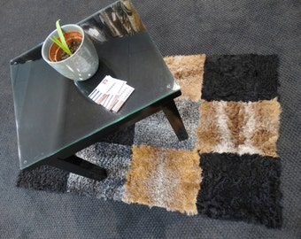 Fur patch rug, Colorful handmade fur carpet F105