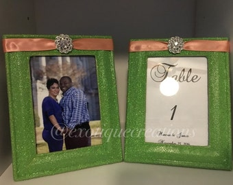 Picture Frame, Table Numbers Mint Green and Peach