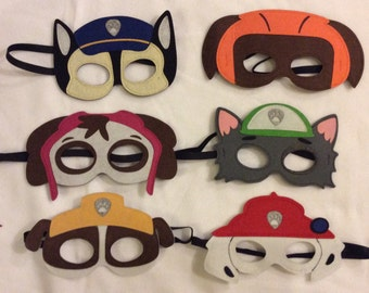 20 Paw Patrol Masks, Party Favors, Felt Masks