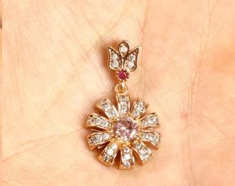 Starburst look topaz light and dark rubies on 30 inch silver chain
