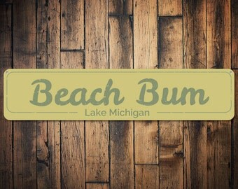 Beach Bum Sign, Personalized Beach Sign, Beach House Decor, Custom Lake House Decor, Metal Lake House Sign - Quality Aluminum ENS1001134