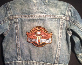 Boys Jean Jacket-Boys Biker-Biker Baby-Harley Boy-Daddy Rides-Motorcycle Jacket-Boys Baby Shower Gift-3-24M available-Mommy rides a Harley
