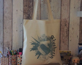 "Tote bag ""SLYTHERIN"" - HARRY POTTER / Slytherin / House / Hogwarts / Draco Malfoy"