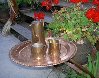 Copper garden art coffee set