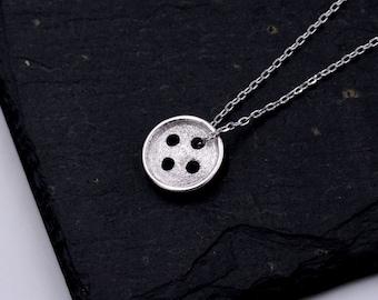 Sterling Silver Super Cute Little Button Design Pendant Necklace  z74