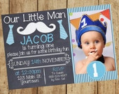Little Man Tie Mustache Boy 1st First Birthday Bday Invitation Invite 5x7 Blue White Tie Mustache Digital PDF JPG