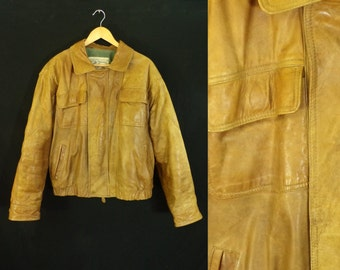 35%offJuly21-24 mens leather jacket / size large / leather bomber jacket / 70s leather coat / 1970s distressed leather / honey brown