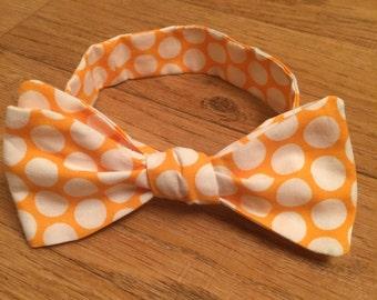 Bow Tie Orange and White Polkadots