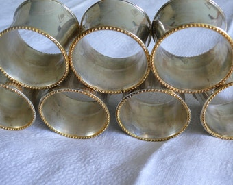 Vintage Napkin Rings, Turned Brass and Silver Plate. Delightful Mid Century Set of Seven.