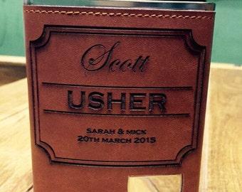 Usher gift. Personalised hip flask 8oz
