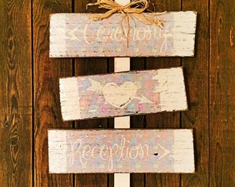 Stunning Yet Subtle Rustic Pastel Reclaimed Timber 'Ceremony & Reception' Wedding Sign