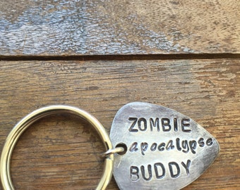 Zombie Apocalypse Buddy - Antique Distressed Silver Aluminum Guitar Pick Hand Stamped Personalized Keychain Keyring