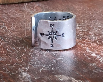 Latitude Longitude Coordinates Adjustable Ring 1/2 Wide Hand Hammered Texture Artisan Handmade Custom Jewelry Sizes 3-14