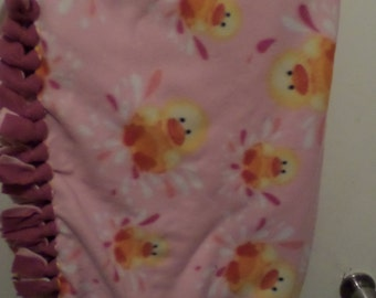 Pink Background With Baby Ducklings Design With Burgundy Backing Fleece No Sew Baby Blanket, Baby Shower Gift, Christmas Gift