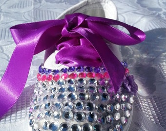 Pink purple and crystal embellished shoes. Size 6