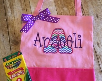 Personalized children's crayon tote bag, Personalized children's art bag