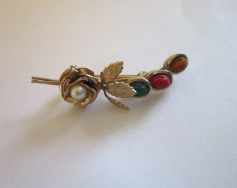 Vintage Rose Flower with Carved Scarab and Faux Pearl Brooch