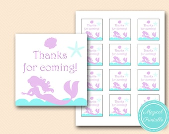 Mermaid Thank you tags, favor tags, Bridal shower favors, Mermaid Baby shower favors, Mermaid Theme thank you note  TLC125