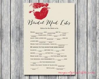 Bridal Mad Libs Bridal Shower Game Printables, Bachelorette Games, Hens Party Games, Wedding Shower Games BS123