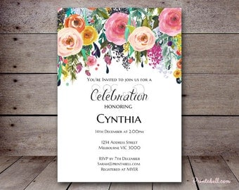 DIY Floral Chic Custom Invitation, Baby Shower Invitation, Bridal Shower, Birthday Party Invitations, BS138 SN34 TLC140 BS402 TLC402