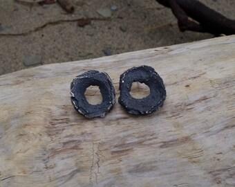 Styrofoam footprint earrings