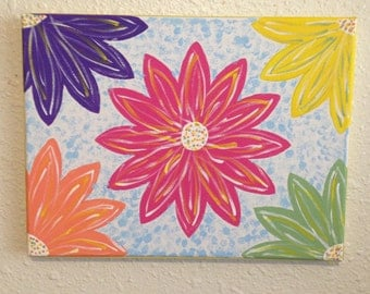 Painting on Canvas, Acrylic Painting, Floral Painting, Canvas Wall Art, Flower Painting, Home Decor, Daisies, Decorative Painting