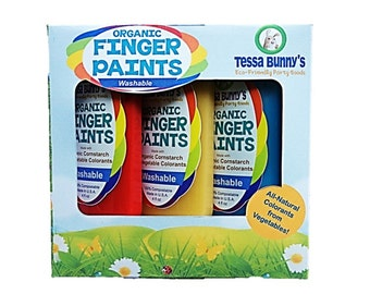 Organic Finger Paints -- Washable, Non-Toxic Kid Safe Paints, All Natural Vegan Colorants