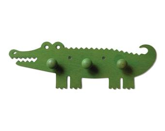 Wooden nursery hanger Crocodile - children's bedroom hanger, kid's hanger, gift for children, Christmas, babyshower, christening