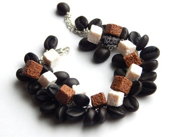 Cute  brown coffee sugar beans bracelet - Coffee lovers gift - food jewelry - summer jewelry - Casual decoration - Coffee jewelry