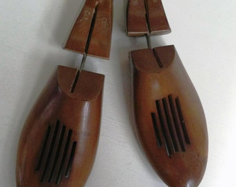 SALE! Vintage Shoe Forms Wood Shoe Forms Vintage Hinged Pair Shoe Stretcher Solid Wood The Bostonian  Shoe Co. Vintage Shoe Last Wooden Form