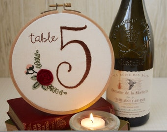 Hand Embroidered Wedding Table Number (set of 10)