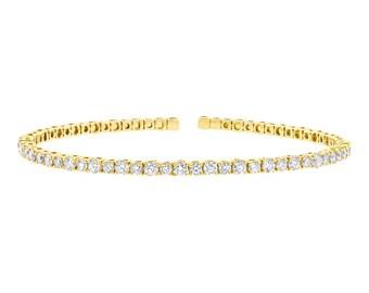 Unique Open Solid Gold Diamond Cuff Bangle, 1.91CT 14K Yellow Gold Round Cut Diamond Cuff Bangle Bracelet Size Medium