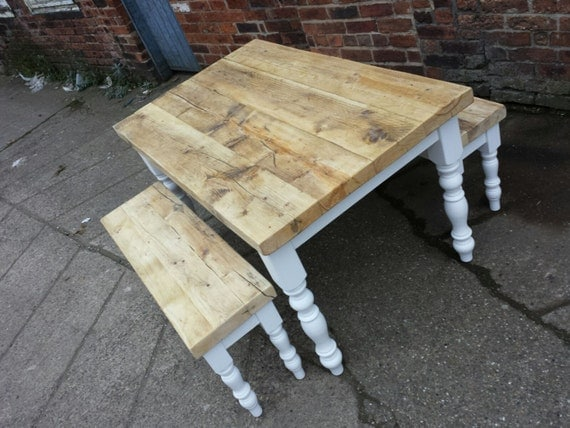 Ammonite White Farmhouse Dining Table Thick Reclaimed Wood