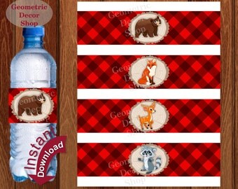 Buffalo Plaid Water Bottle Labels Instant Download Lumberjack Birthday Milk Wilderness Plaid Lumber Jack bear deer baby shower Camping WLLJ2