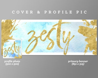 Timeline Cover + Profile Picture 'Zesty' Cover, Profile Picture, Branding, Web Banner, Blog Header | gold foil, blue watercolor, new, yellow