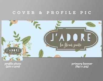 Timeline Cover + Profile Picture 'J'adore' Cover, Profile Picture, Branding, Web Banner, Blog Header | blue, brown, leaf, badge, pink flower