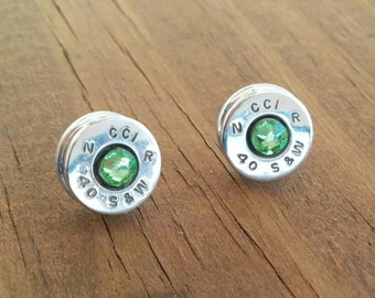 Bullet jewelry, Bullet studs, Bullet earrings, 40 caliber studs, 40 earrings