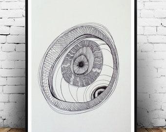 "Art, Modern Abstract Black and White, Geometric Line Art, Geometric Art, Modern Art, Pen Drawing, Futuristic, Retro 8 x 12"""