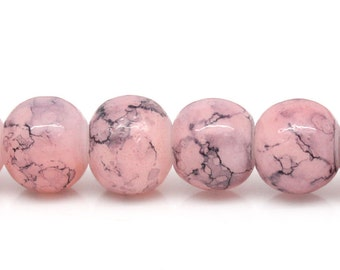 20 Light Pink and Gray Marbled Glass Beads | 6mm Glass Beads | 4025