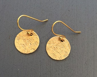 Gold Textured Earrings // Nature // Stamped // Delicate + Dainty