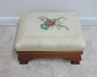 Antique Empire Mahogany Foot Stool Ottoman Seat