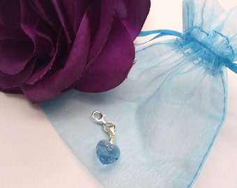 Something Blue Swarovski Crystal Elements Clip on Charm Wedding Bride