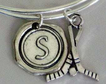 FIELD HOCKEY Bangle Bracelet Personalize W/ Initial Charm Drop / Under Twenty - Gift For her - Made In Usa H1