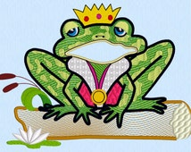 Prince Charming Frog Machine Embroidery Applique 5x7