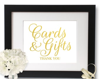 Wedding sign, wedding signage, Cards and gifts, Gold Foil Wedding, Gift Table Sign, Gold foil Print, cards gifts wedding, Gold Foil Card