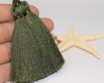 2/10/50 Pcs Military Green Lux Tassels - 80 mm Long Thick Tassels - for your lovely diy crafts, jewelries and accessories PS060