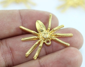 1 pc spider pendant - gold plated - 24x32mm - spider charm - tarantula pendant - gold plated spider - AKS 114