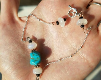 """Moonstone and howlite sterling silver 10"""" anklet"""