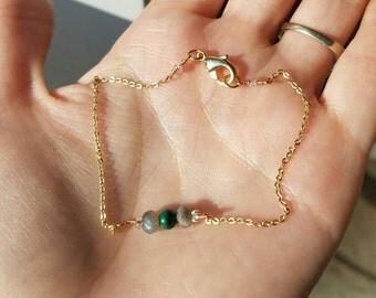 "8"" Labradorite and Malachite Gold Plated bracelet"